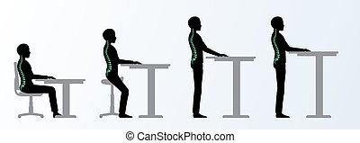 regolabile, ergonomic., altezza, scrivania, tavola, pose, o