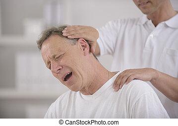 regolazione, chiropratico, collo, chiropractic: