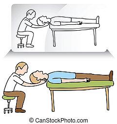 regolazione, chiropratico, collo