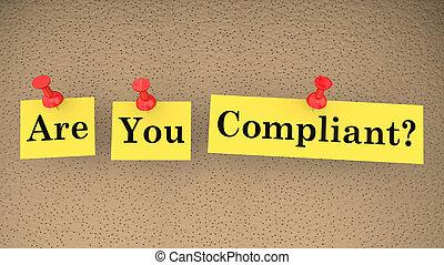 regole, conformità, illustrazione, conforme, parole, seguire, lei, leggi, 3d