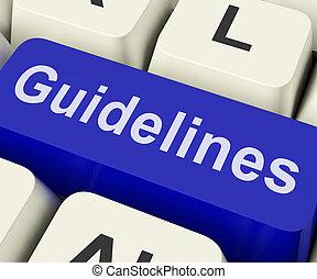regole, guida, linee direttrici, chiave, politica, o, mostra