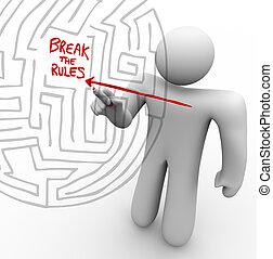 regole, rottura, -, attraverso, freccia, labirinto