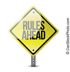 regras, à frente, sinal estrada, ilustração