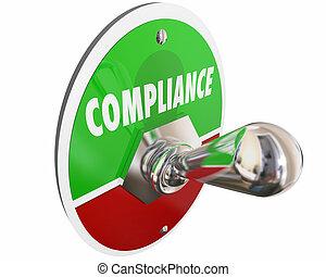 regras, conformidade, ilustração, regulamentos, interruptor, seguir, leis, 3d