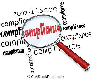 regras, conformidade, regulamentos, vidro, palavras, magnificar