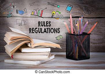regras, e, regulamentos, negócio, concept., pilha livros, e, lápis, ligado, a, tabela madeira