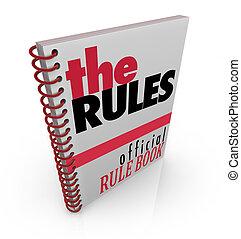 regras, oficial, manual, livro regra, direções