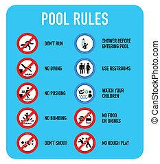 regras, piscina, sinais
