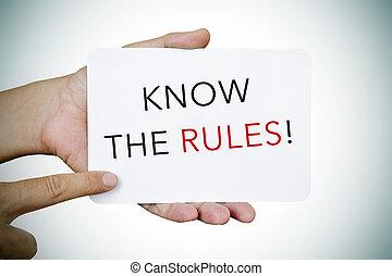 regras, texto, signboard, saber