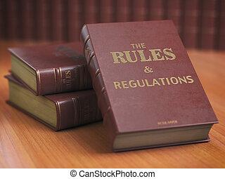 regras, um, regulamentos, livros, com, oficial, instruções, e, direções, de, organização, ou, team.