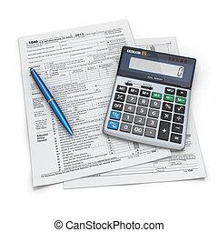regreso, calculadora, impuesto, 1040, pe?., 3d