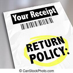 regreso, política, cliente, compra, recibo, almacene...
