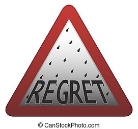 Regret Signpost - A regret warning sign isolated on a white...