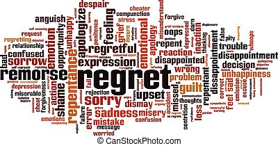 Regret word cloud concept. Collage made of words about ...