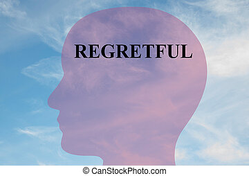 Regretful mental concept - Render illustration of REGRETFUL...