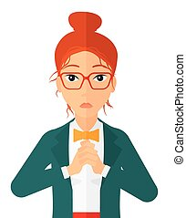 Regretful woman with clasped hands. - Regretful woman with ...