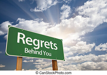 regrets, dietro, lei, verde, segno strada