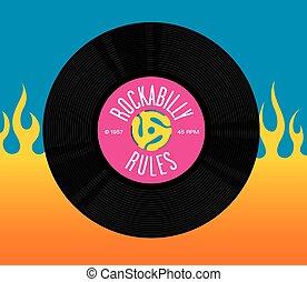 reguły, rekord, projektować, rockabilly