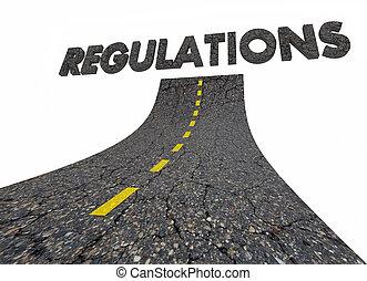 reguations, 政府, regulated, 規則, 道, 単語, 3d, イラスト
