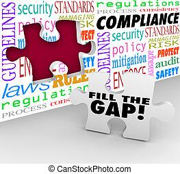 regul, mur, puzzle, conformité, trouée, règles, suivre, trou, remplir, lois