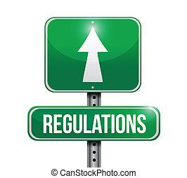 regulaciones, diseño, camino, ilustración, señal