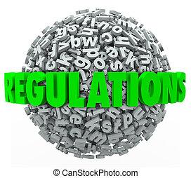 regulaciones, palabra, carta, pelota, esfera, reglas, leyes, pautas