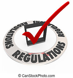 regulaciones, palabra, marca de verificación, caja, reglas, seguido, completado