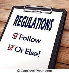 regulaciones, portapapeles, ilustración