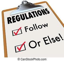 regulaciones, seguir, o, else, lista de verificación, cajas,...