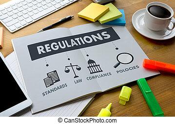 regulaciones, y, conformidad, reglas, ley, profesionales,...