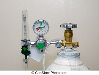 regulador, tanque, oxígeno, calibradores