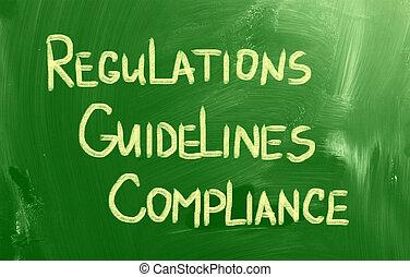regulamentos, conceito, diretrizes, conformidade