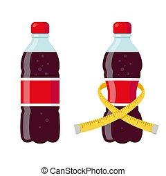 Regular and diet soda bottles vector illustration. Skinny ...