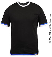 regular black male T-shirt with blue and white stroke isolated on white background