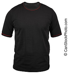 regular black male T-shirt with red stroke isolated on white background