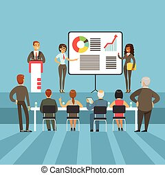 Regular Business Results And Achievement Presentation With Info Materials And Graphic Charts With The Major Shareholders. Marketing And Financial Summary Demonstration Vector Illustration.
