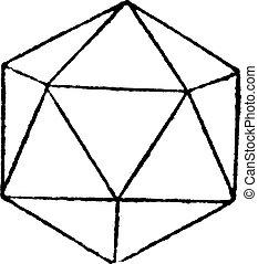 Regular Icosahedron vintage engraving