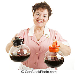 Regular or Decaf Coffee - Friendly smiling waitress offers a...