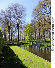 Regular park around the medieval castle of Menkemaborg in the Netherlands
