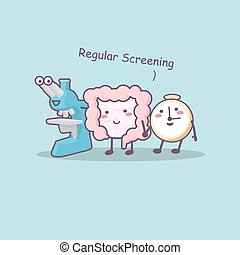 Regular screening with intestine ,microscope and clock-great...