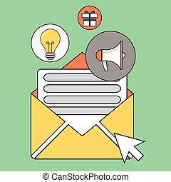 regularly, 概念, 出版, バックグラウンド。, 色, distributed, トピック, いくつか, 隔離された, イラスト, 電子メール, を経て, ベクトル, subscribers., 興味, 流行, ニュース, 線, ∥そ∥