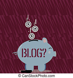 regularly, couleur, texte, signe dollar, bas, monnaie, individu, toile, sideview, pièces, blogquestion., photo, conceptuel, tomber, site web, updated, course, projection, banque, slit., porcin, page
