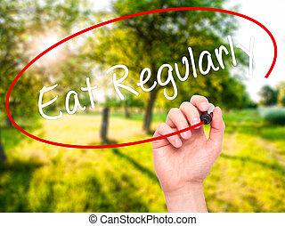 regularly, screen., escrita, visual, pretas, marcador, mão, comer, homem