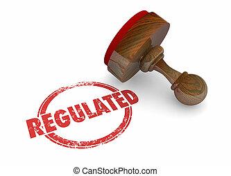 regulated, 郵票, 規則, 法律, 規章, 3d, 插圖