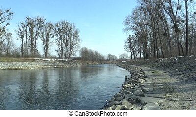 Regulated river Morava with flood protection measures large...