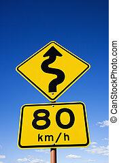 Regulation road sign
