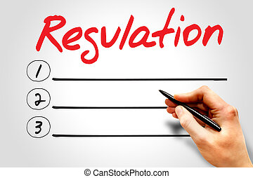 Regulation blank list, business concept