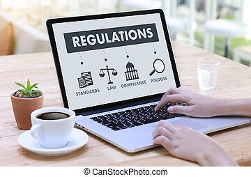 REGULATIONS and COMPLIANCE Rules Law professionals businessman working concept