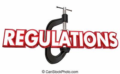 Regulations Clamp Vice Grip Regulated Business 3d Illustration