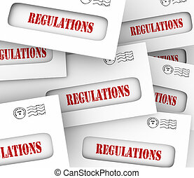 Pile of envelopes with word Regulated as official notifications overseeing your business, home, career or life